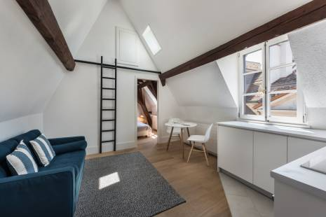 This atypical attic studio is located in the heart of the historic Old Town of Geneva. With its exposed beams, the studio has recently been renovated in a modern style. Composed of one bedroom, one kitchen leading on a living room area, enjoy the charming view on the roofs of Geneva.