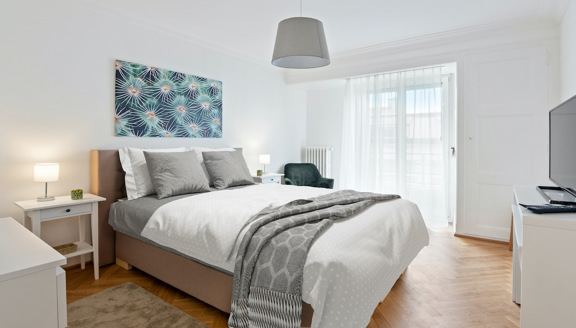 Located in one of the historical buildings of the Eaux-vives district, this comfortable one bedroom apartment recently renova